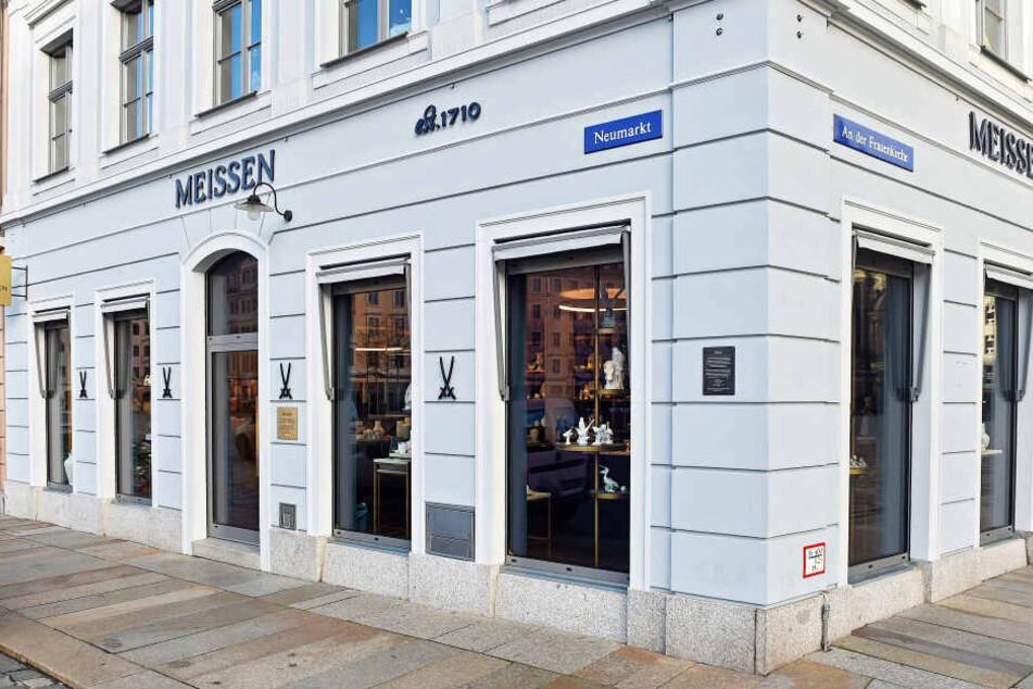 Auch in diesen Laden der Manufaktur Meissen suchte der Dieb heim.