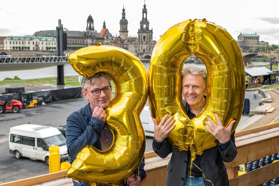 Die Filmnächte-Chefs Matthias Pfitzner (54) und Johannes Vittinghoff feiern den 30. Geburtstag der Filmnächte am Elbufer.