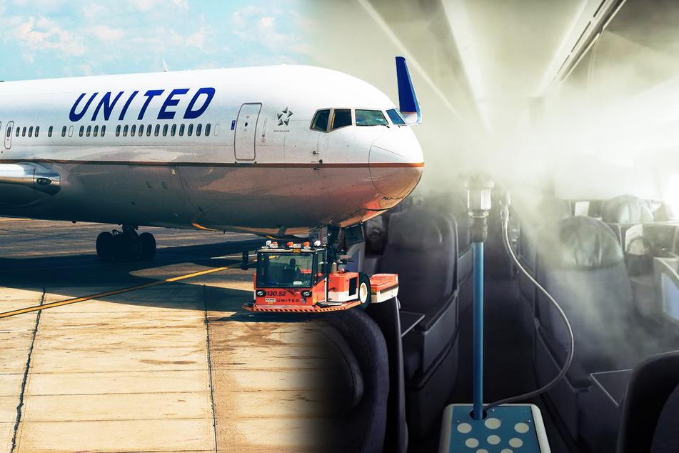 Man sieht kaum noch etwas: Roboter hüllt ganzes Flugzeug in Nebel!