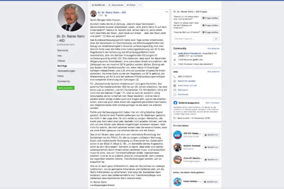 Dieser Screenshot zeigt den fraglichen Facebook-Eintrag von Rainer Rahn (AfD).