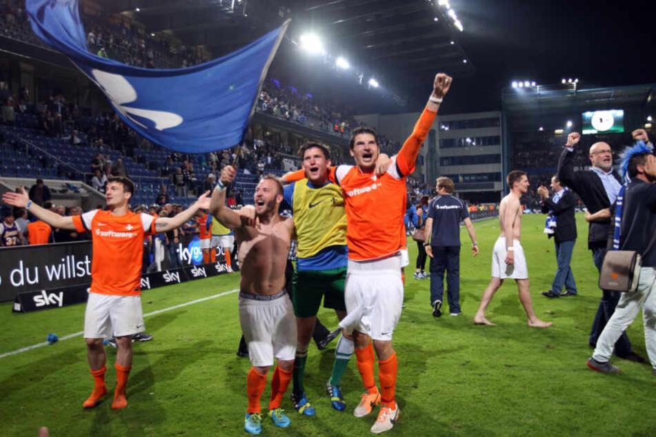 Nach dem Schlusspfiff feierte Darmstadt den Aufstieg in die 2. Liga.