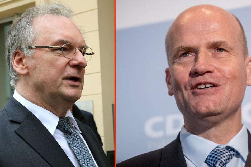 Die ranghohen CDU-Politiker Reiner Haseloff (64) und Ralph Brinkhaus (50) sprechen sich weiterhin für Angela Merkel (64) als CDU-Vorsitzende aus. (Bildmontage)