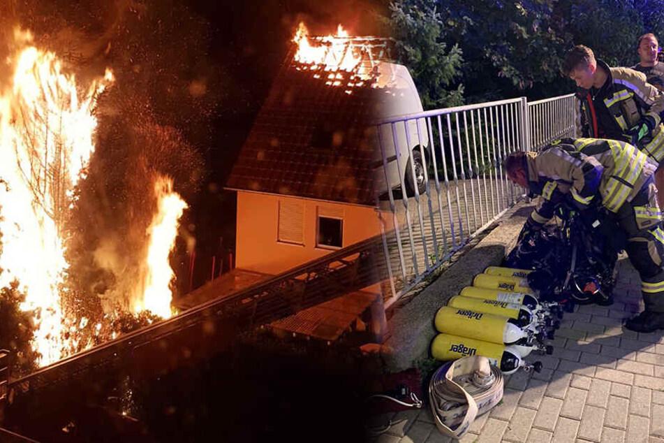 Der Dachstuhl des Privathauses brannte komplett aus.