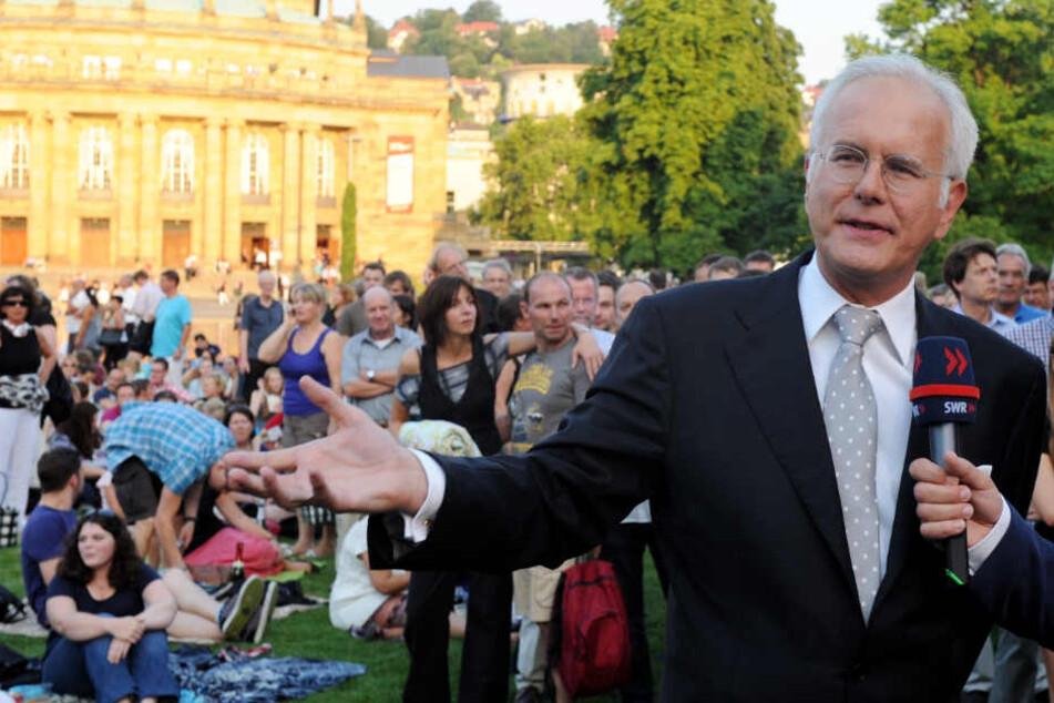 2012: Harald Schmidt im Schlossgarten in Stuttgart.