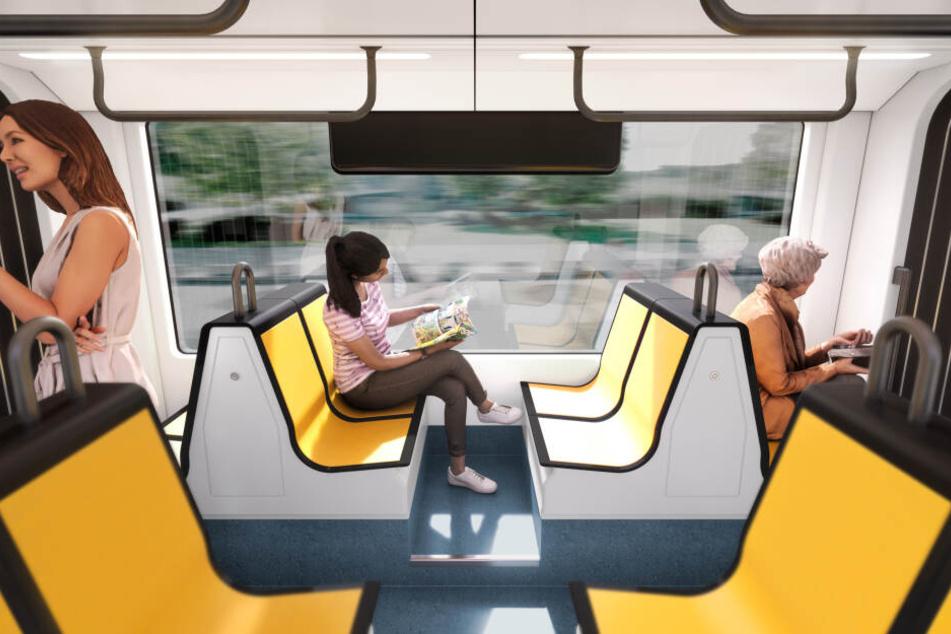 Der großzügig gestaltete Innenraum der neuen Super-Straßenbahn bietet deutlich mehr Platz als die bisherigen Modelle. Extragroße Panoramafenster sorgen für einen besseren Ausblick.
