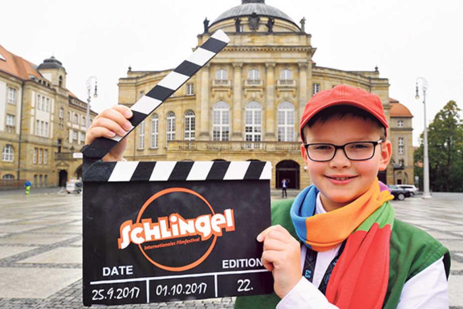 Frederik (10) ist der neue Schlingel, er moderiert unter anderem bei den  Kinderfilmen.