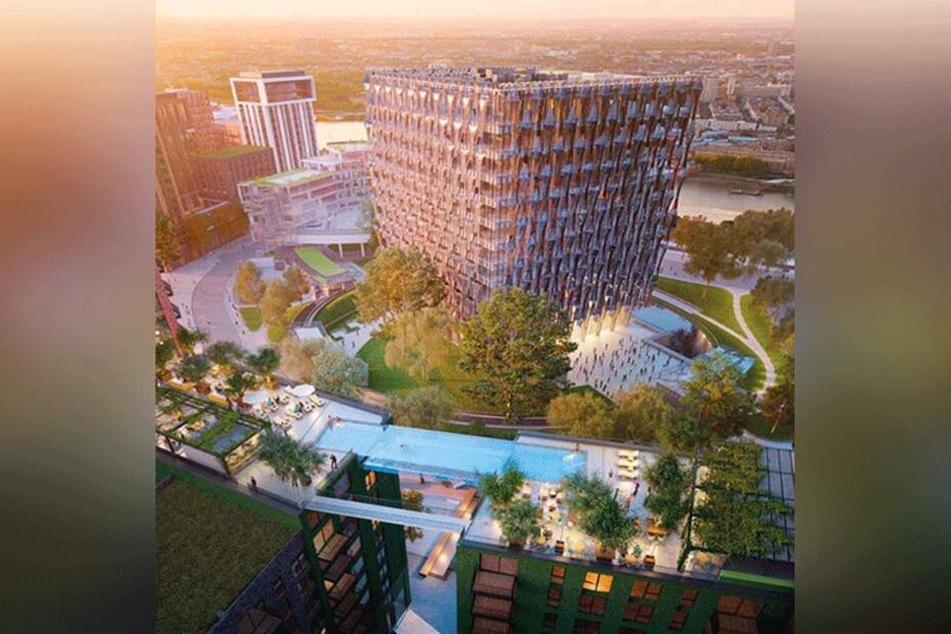 Der Sky Pool wird die zwei Wohngebäude miteinander verbinden.