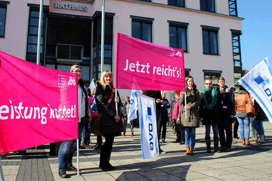 Bundesweit einzigartig: Nach Warnstreiks droht in Naunhof nun ein unbefristeter Streik.