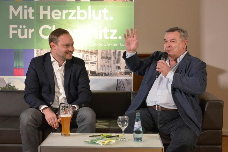 Waldemar Hartmann (71) war schon öfter in Sachsen im Einsatz, hier mit CDU-Generalsekretär Alexander Dierks (31).