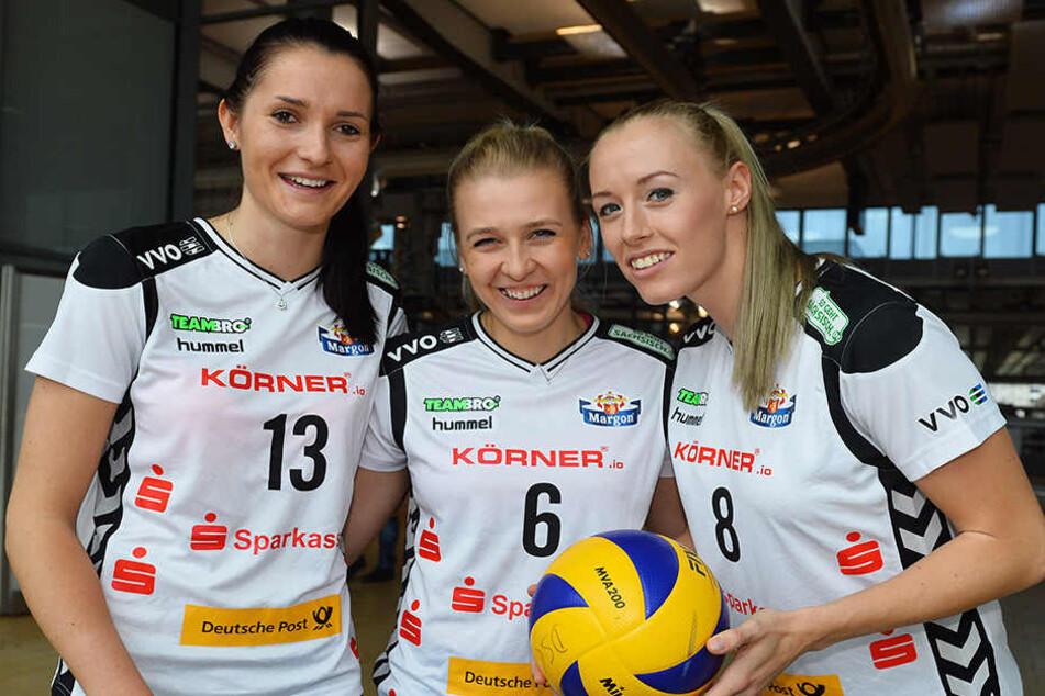 Das Tschechen-Trio (v.l.: Eva Hodanova, Lucie Smutna und Barbora Purchartova) ist neu in Dresden.