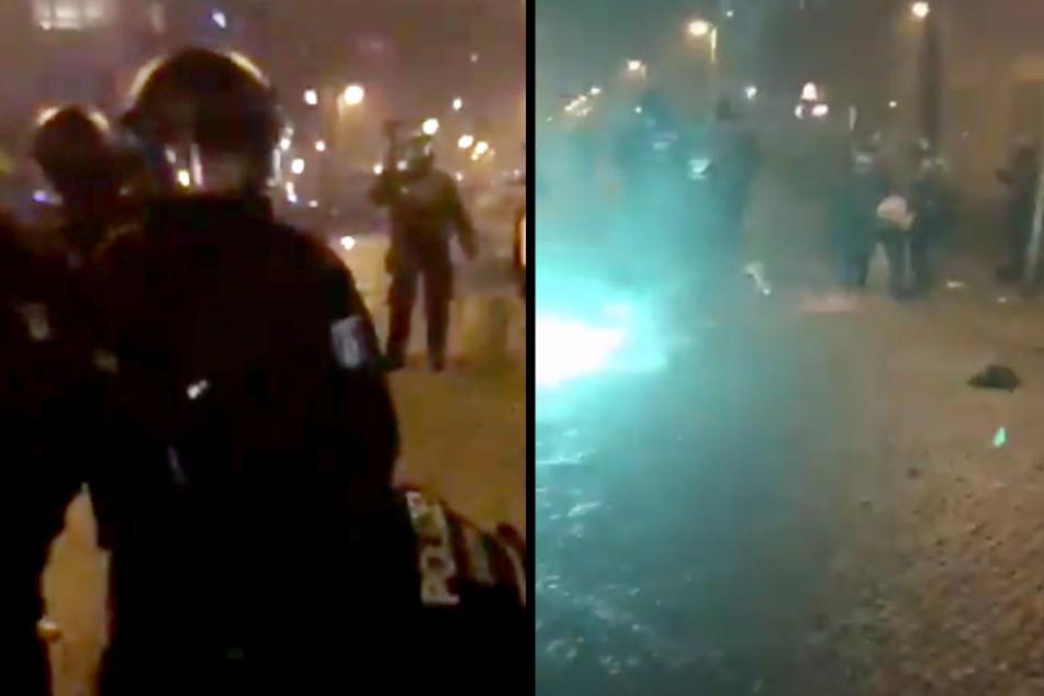 Krasses Video aufgetaucht! Polizei mit Böllern attackiert