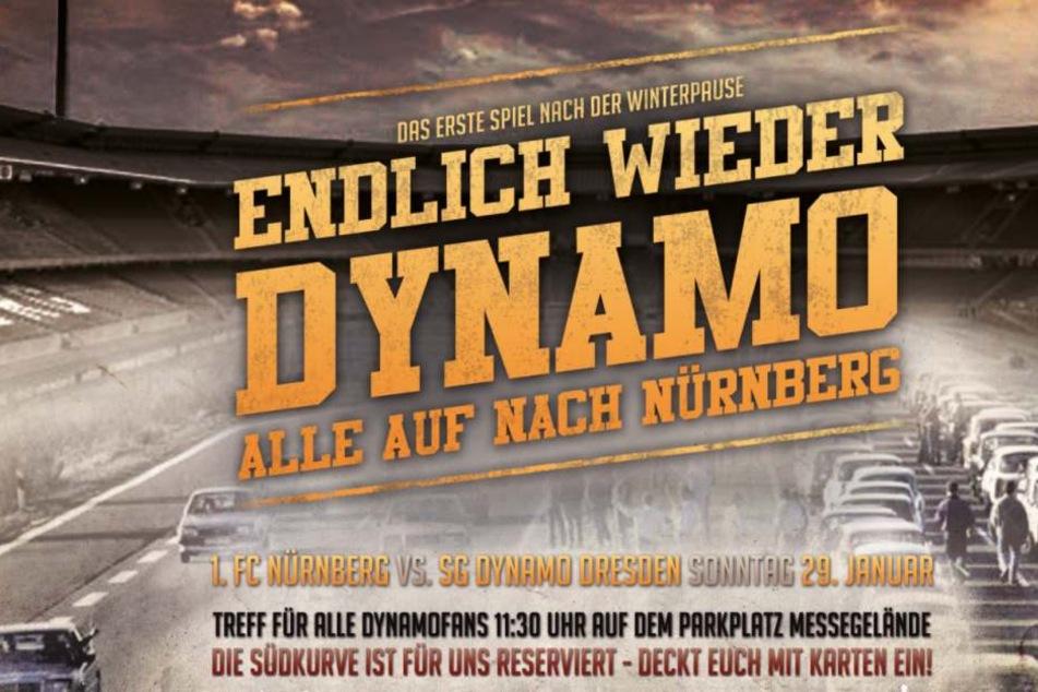 Mit diesem Banner rufen die Ultras die Fans zur Fahrt nach Nürnberg auf.