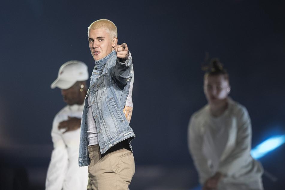 """Justin Biber auf der Bühne während seiner """"Purpose World Tour"""" im Jahr 2017."""