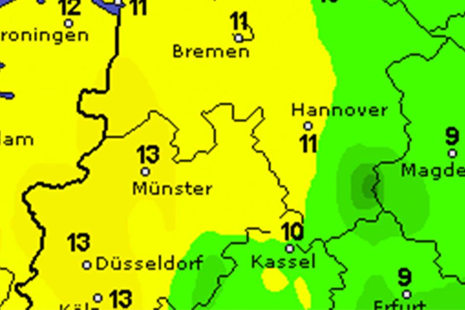 Während der Woche pendeln sich die Temperaturen bei 13 bis 15 Grad ein.