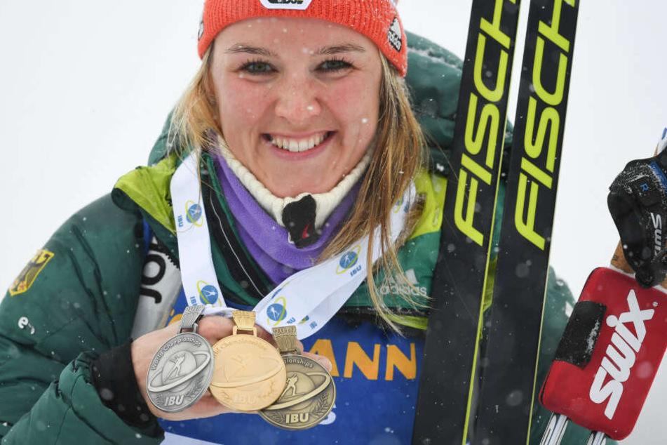 Gold, Silber und Bronze: Denise Herrmann sicherte sich bei der Biathlon-WM in Östersund einen kompletten Medaillensatz.