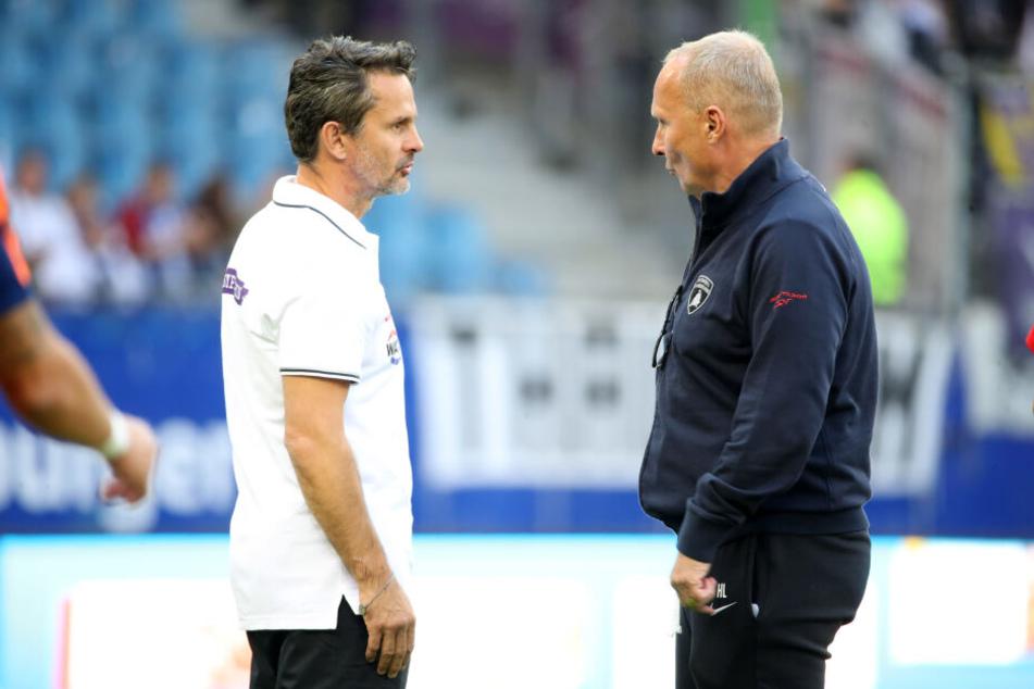 Aues Präsident Helge Leonhardt (r.) hat mit der Verpflichtung von Trainer Dirk Schuster offenbar alles richtig gemacht.