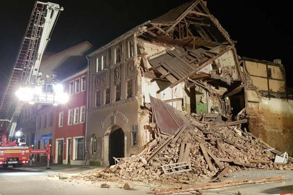 Am Montagabend stürzte plötzlich ein Haus in Bautzen ein.