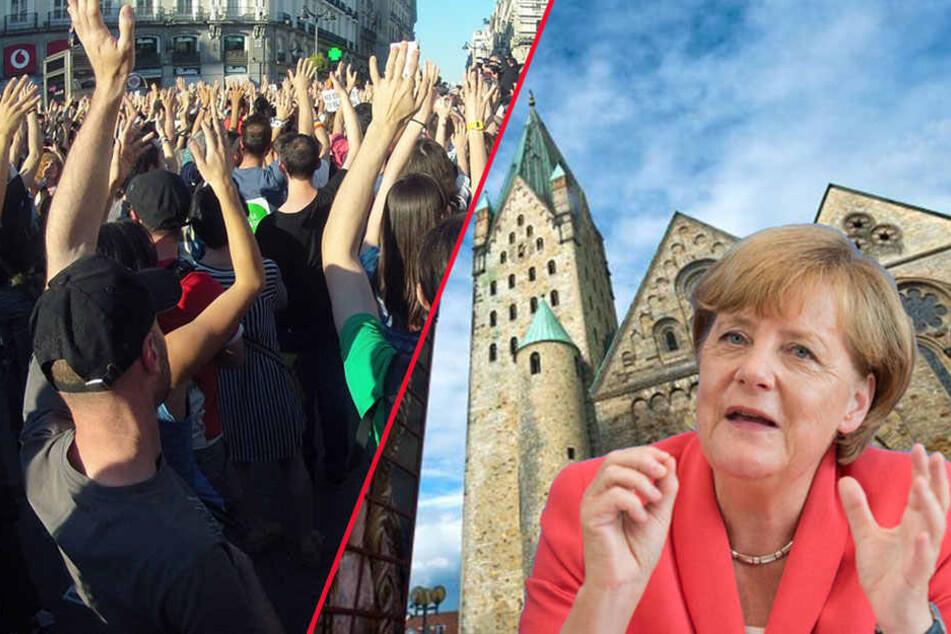 Weil Merkel kommt! Demos legen Paderborn lahm