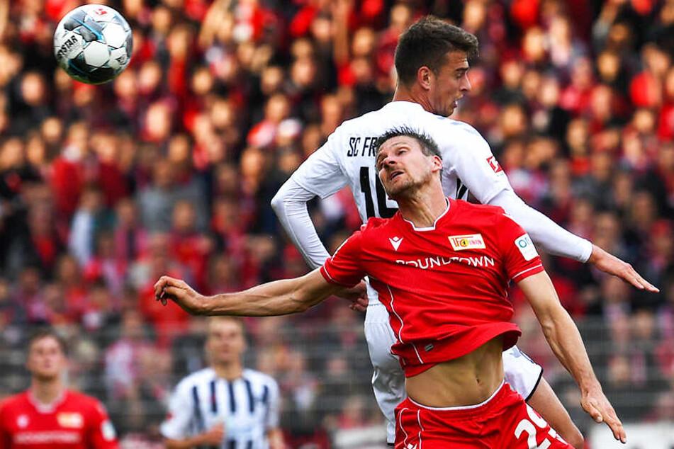Union-Urgestein Michael Parensen (vorne) ersetzte den verletzten Neven Subotic und zeigte in seinem ersten Bundesliga-Spiel eine gute Leistung.
