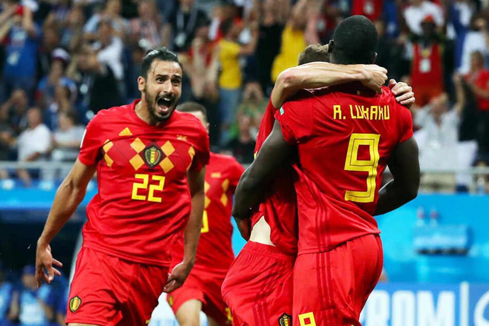 Großer Jubel bei Belgien, nachdem Nacer Chadli (l.) in der Nachspielzeit den 3:2-Siegtreffer gegen Japan erzielt hatte.
