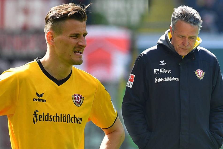 Ein enttäuschter Stefan Kutschke (li.) und ein nachdenklicher Uwe Neuhaus.