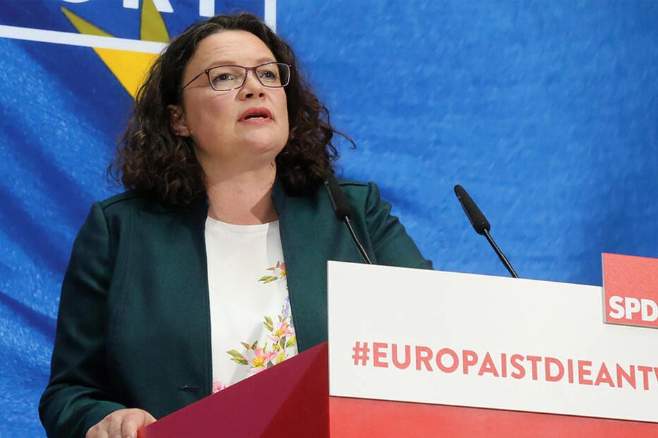 Andrea Nahles, SPD-Parteivorsitzende, äußert sich am Wahlsonntag auf einer Pressekonferenz der SPD zum Ergebnis der Europawahl.
