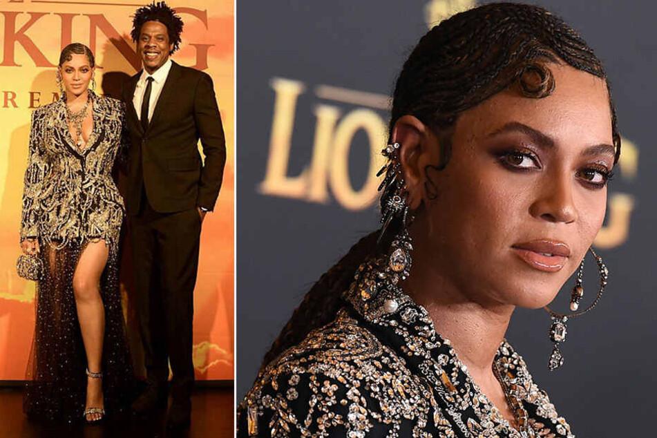 """Sie glitzerte, er strahlte: Beyoncé (37) und Gatte Jay-Z (49) bei der Premiere von """"König der Löwen""""."""