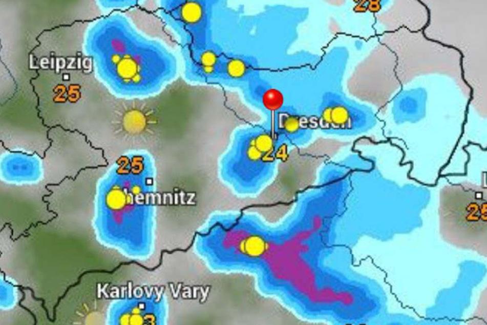 Sachsen wird am Samstag mit viel Niederschlag überschüttet.
