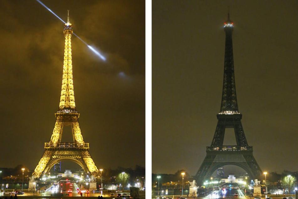 Der Eifelturm schaltete zum Gedenken der Opfer von Quebec die Lichter ab.