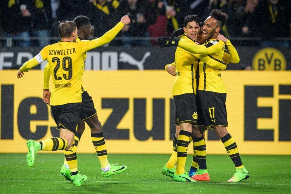 Großer Jubel beim BVB: Am Ende reichte der eine Treffer, um drei Punkte im eigenen Stadion zu behalten.