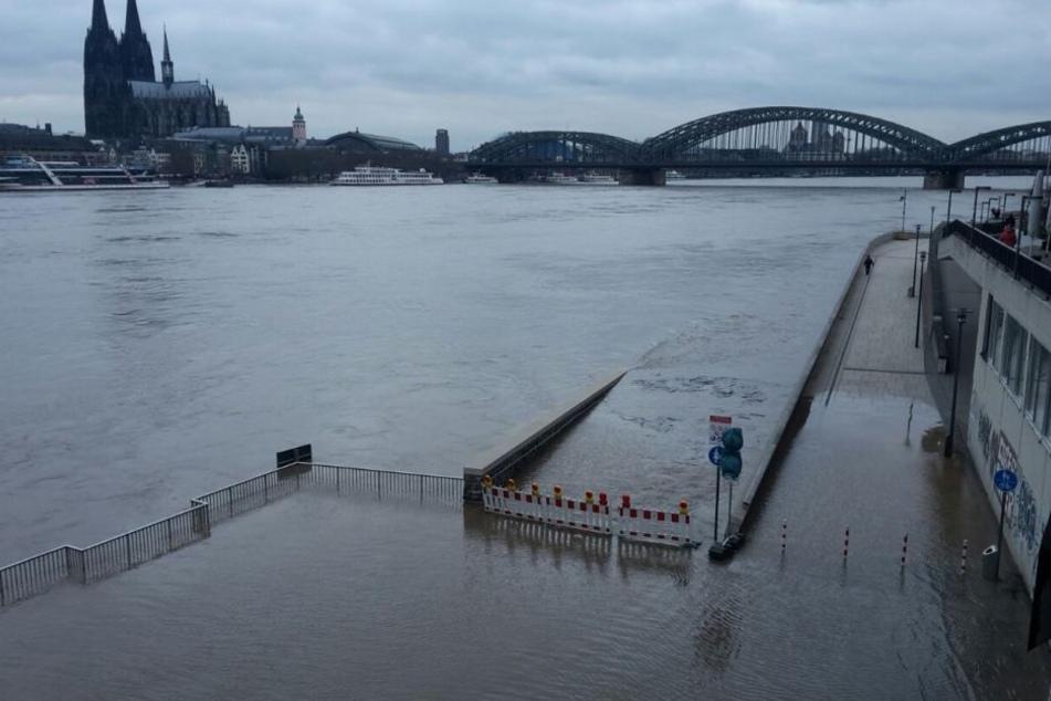 Schifffahrt bei Köln wegen Hochwasser eingestellt [1:08]