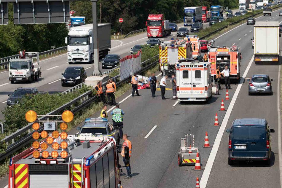 Die A67 wurde in einer Fahrtrichtung voll gesperrt.