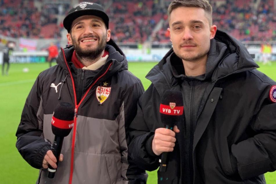 Erhan Kayman (links im Bild) und Marcel Lutz bei einem Heimspiel des VfB Stuttgart in der Mercedes-Benz Arena.