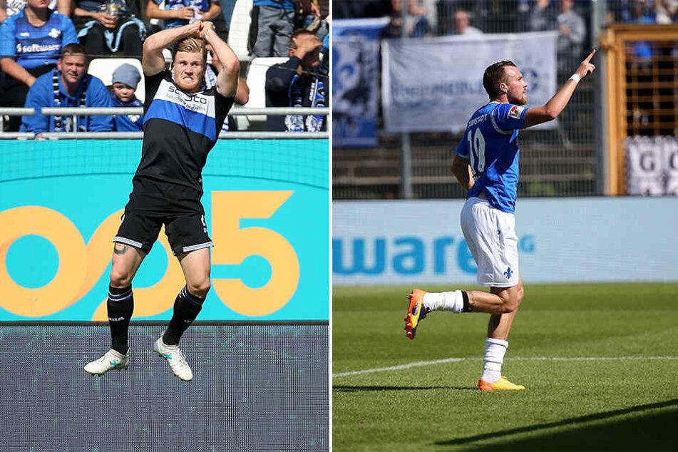 Auf den Freudensprung von Andreas Voglsammer (Links) folgte nur wenige Sekunden später der Jubel von Kevin Großkreutz über seinen 1:1-Ausgleich.