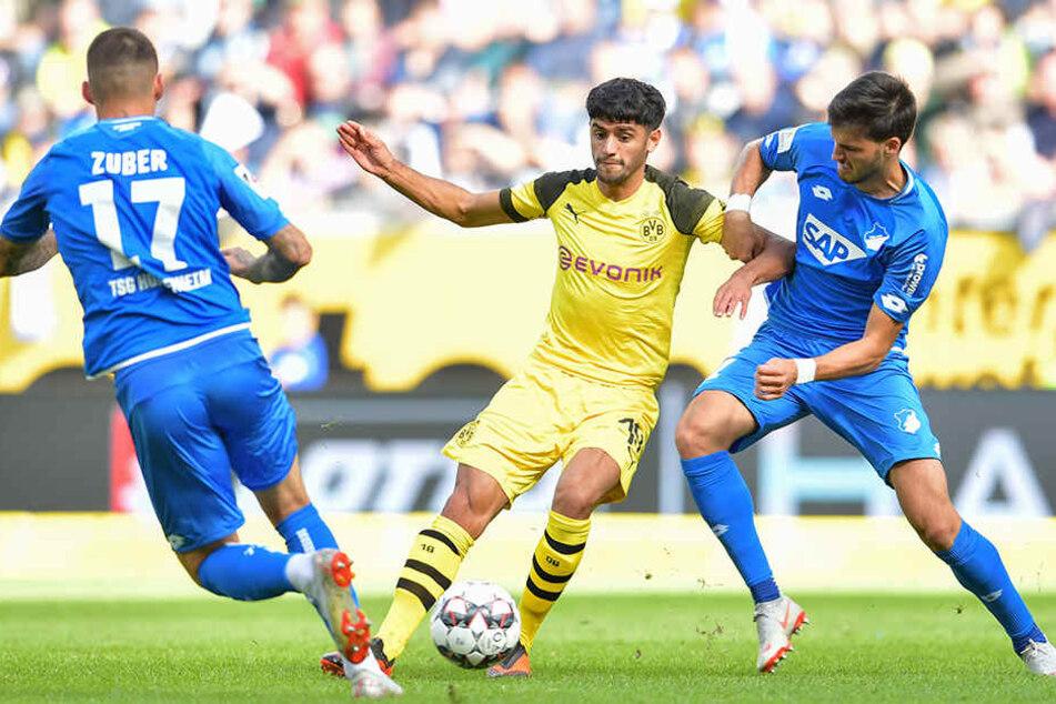 Dortmunds Mahmoud Dahoud (M.) im Zweikampf mit Hoffenheims Florian Grillitsch (r.), der Unterstützung von seinem Teamkollegen Steven Zuber (l.) bekommt.