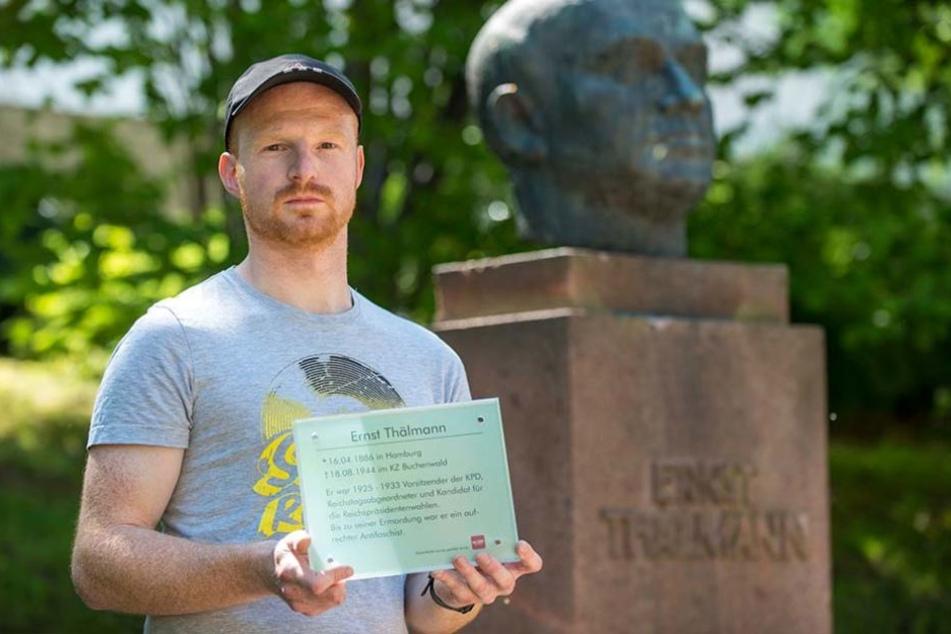 Marcel Dönicke (30, Die Linke) will das Thälmann-Denkmal mit einer Tafel  aufwerten.