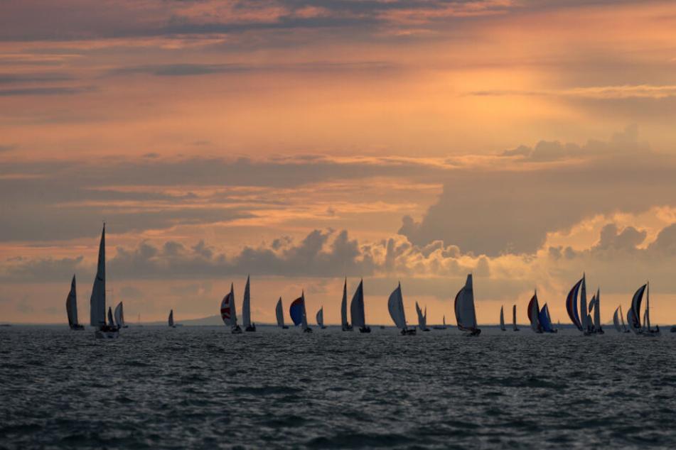Segelboote fahren vor Lindau während der Nachtregatta auf dem Bodensee.