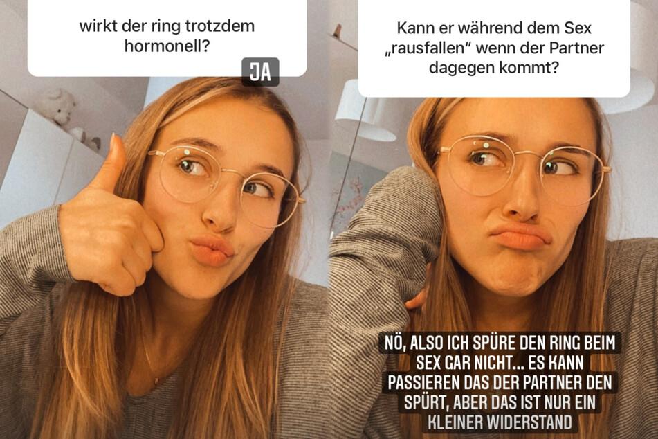 Die Montage zeigt Screenshots zweier Instagram-Storys von Greta Engelfried (21) vom Sonntagnachmittag.