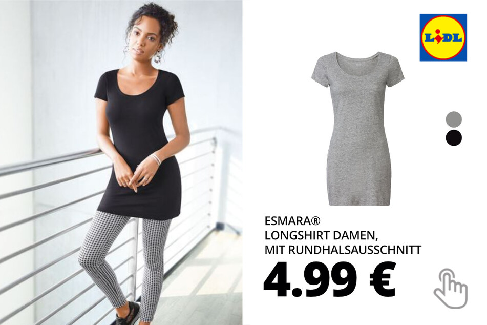 ESMARA® Longshirt Damen, mit Rundhalsausschnitt
