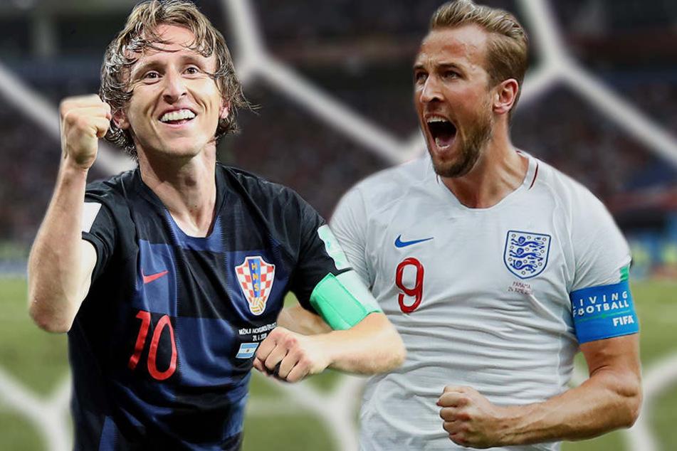 Die Stars ihrer Mannschaften: Kroatiens Luka Modric (l.) und Englands Harry Kane (r.).