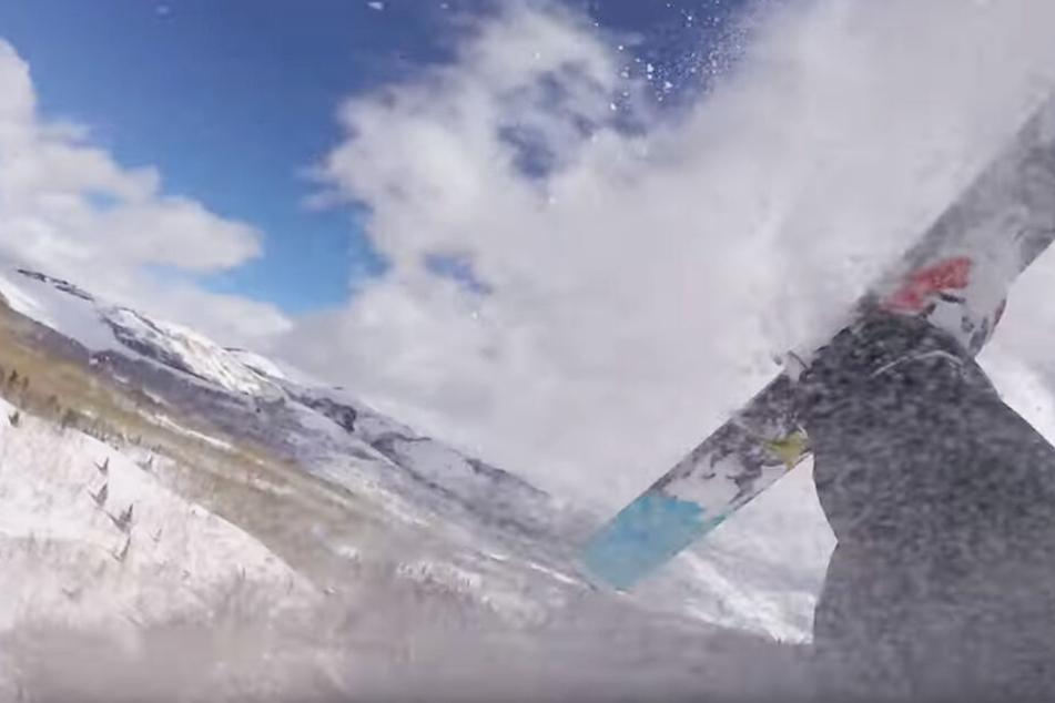 Durch die Luft gewirbelt gab es für den Skifahrer keinen Halten mehr.