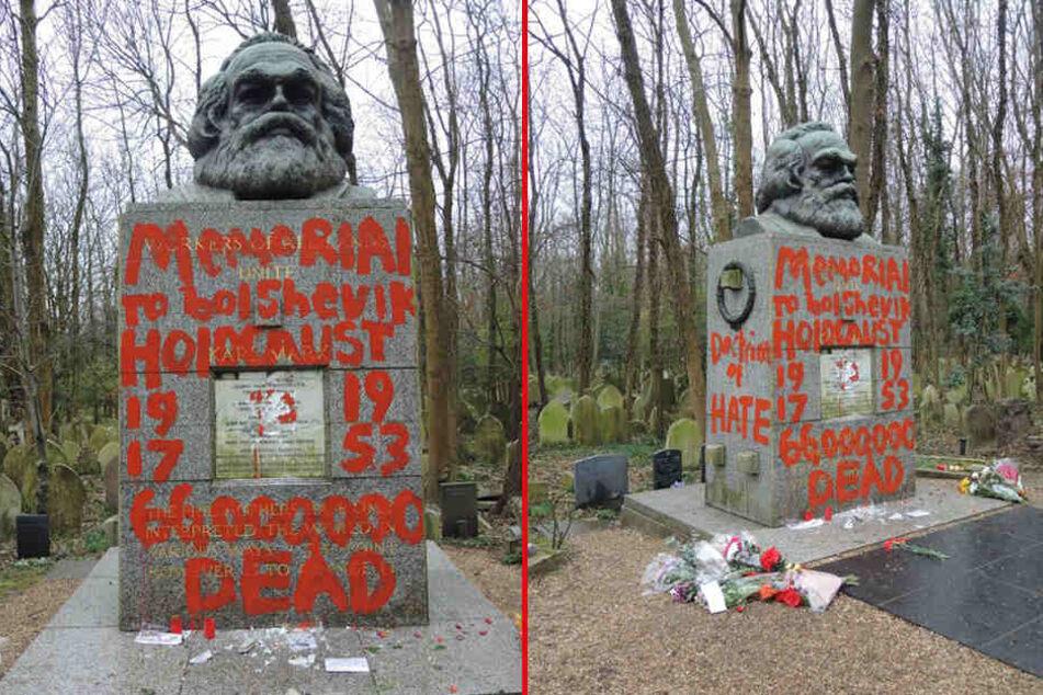 Bislang unbekannte Täter haben das Grab von Karl Marx am Highgate-Friedhof in London beschädigt.