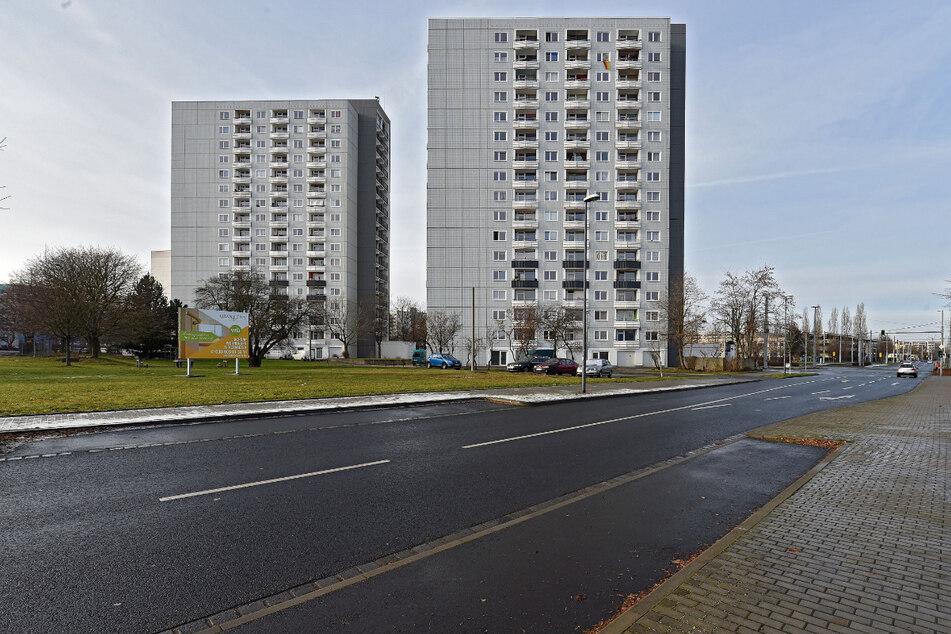 Brutstätte Balkonien: Der Hochhausriese (l.) am Albert-Wolf-Platz in Prohlis traf offenbar den Geschmack des Turmfalkenpaares.