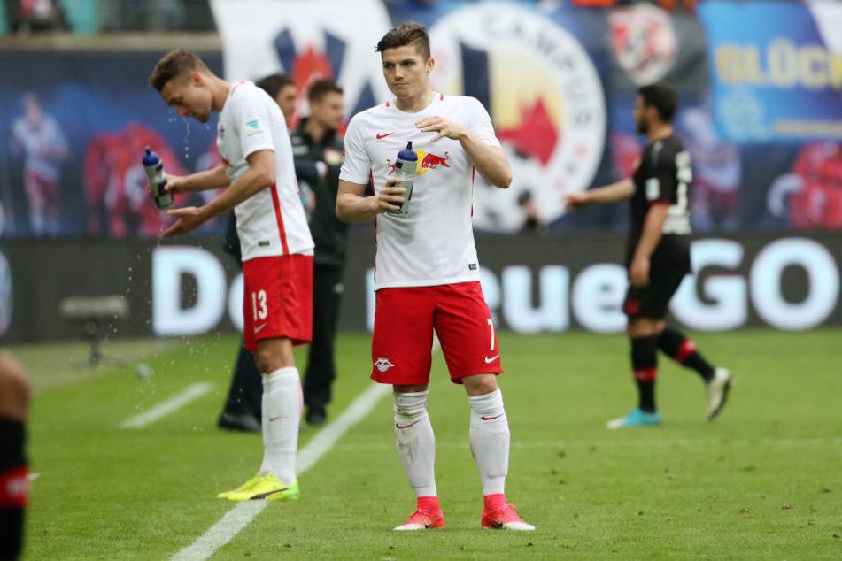 Stefan Ilsanker (l.) und Marcel Sabitzer (hier im Spiel gegen Bayer Leverkusen) durften für die Österreicher gegen Wales ran, konnten die 0:1-Niederlage allerdings auch nicht abwenden.