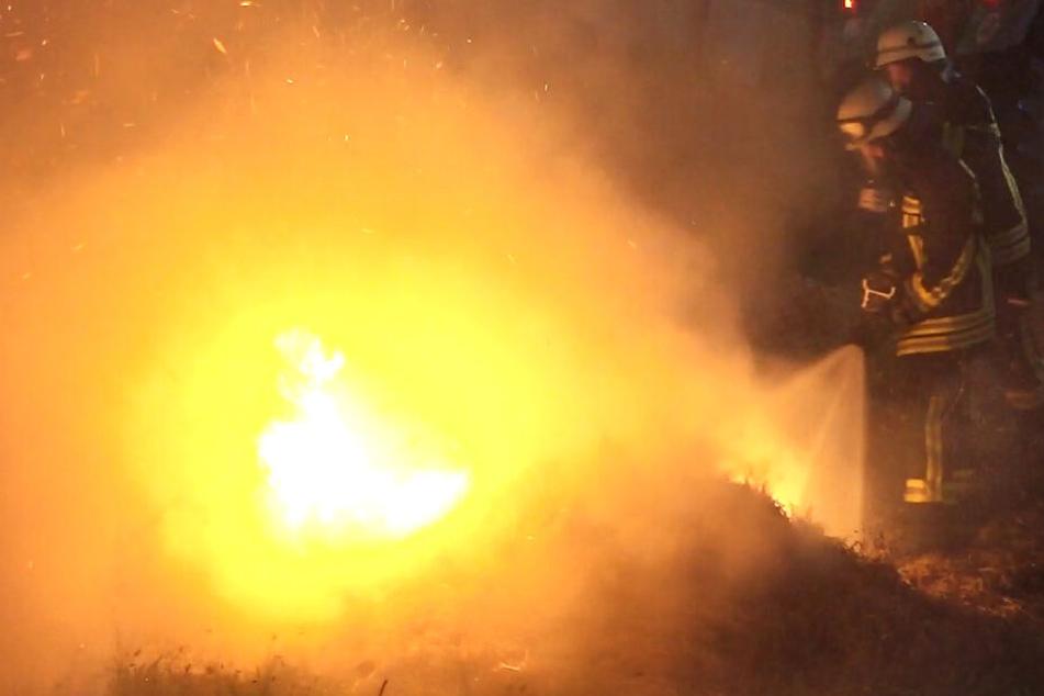 Flammen-Meer in der Nacht: Feuer bei Bensheim in Südhessen