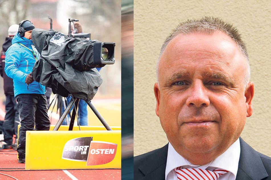 Die TV-Kameras sind bei den Spielen des FSV und CFC ständige Begleiter. Rechts: Frank Fischer.