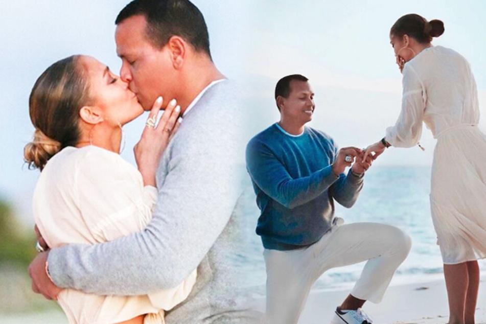 Wie romantisch: Hier hält Alex Rodriguez um die Hand von J. Lo an!