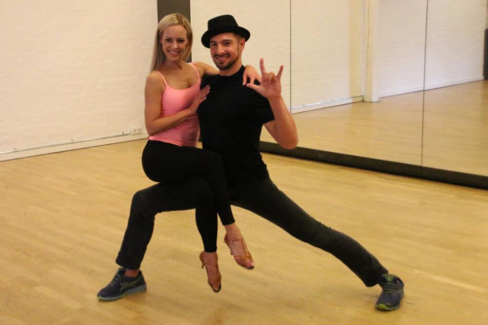 Das Paar zeigt sich während einer Trainingseinheit gut gelaunt.
