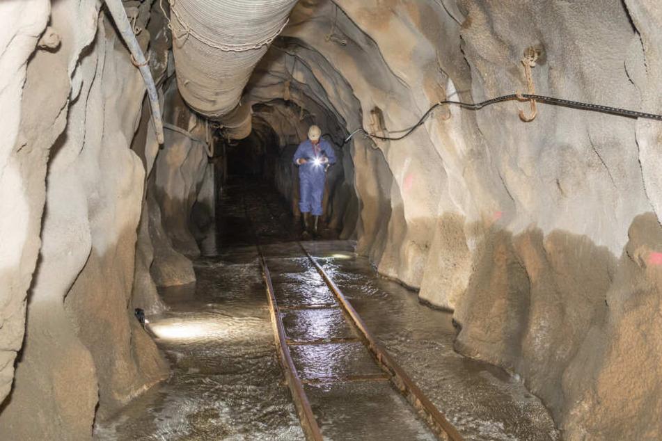 Ein Entwässerungsstollen im Uran-Bergbau-Reviers Schlema-Alberoda.
