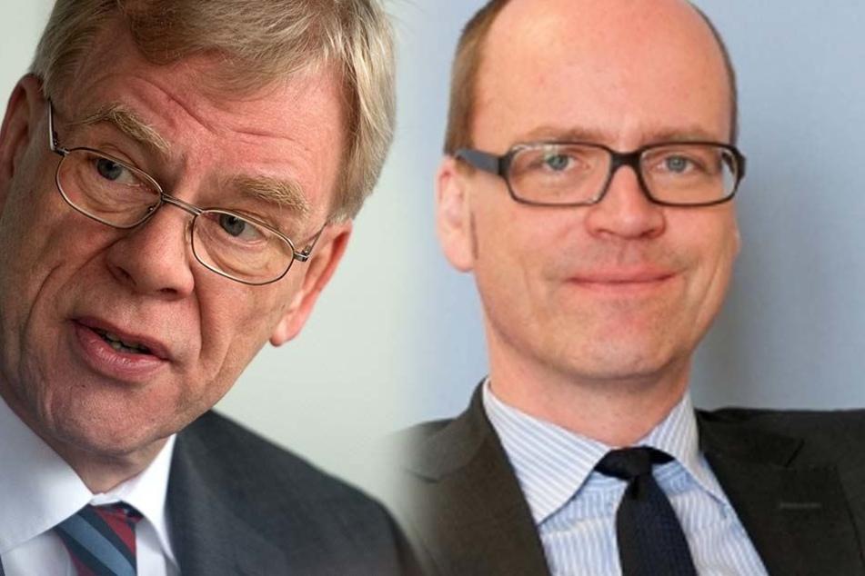 Georg Unland (64, CDU, l.) geht wieder zurück an die Bergakademie Freiberg. Sein Nachfolger ist Matthias Haß aus dem Bundesfinanzministerium.